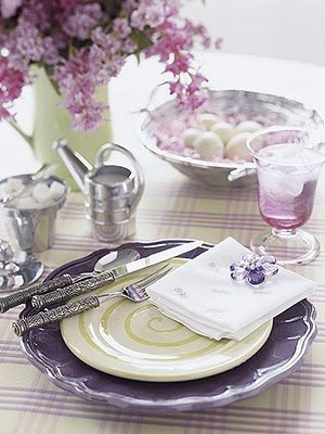 Purple sliver and pink colors come together to create this Easter table setting. A green pitcher serves as a perfect vase while simple touches such as ... & 124 best Spring Table Setting Ideas images on Pinterest | Table ...