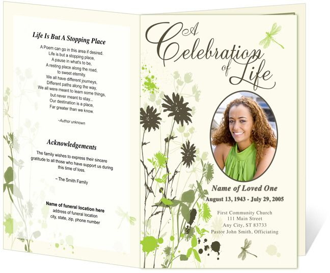 dragonfly funeral program template funeral template pinterest memorial service program funeral and program template