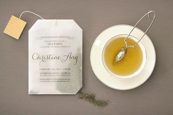 Joy's DIY Tea Bag Bridal Shower Invitations via Oh So Beautiful Paper: http://ohsobeautifulpaper.com/2014/03/joys-diy-tea-bag-bridal-shower-invitations/  Design + Photo Credit: Joy Ang