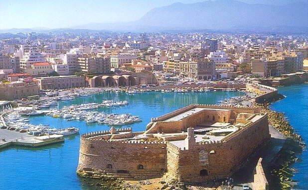 Heraklion Old Harbour with the Venetian Fort in the foreground, #Crete #Greece Heraklion is the largest city (174k) & capital of Crete. More: http://en.wikipedia.org/wiki/Heraklion