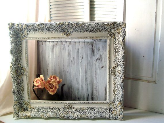 Reserved Ornate Antique White Vintage Frame, Large and