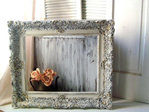 Reserved Ornate Antique White Vintage Frame Large And