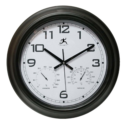 Infinity Instruments offers The Seer in/outdoor Wall Clock a modern outdoor or indoor wall clock. This is one of the best weather clocks sold. This Garden clock is highly accurate and weather resistant in most climates. This clock has a bright white dial, black modern Arabic numbers at all hours except 4,5,7 and 8 leaving room for the thermometer and humidity gauges.  Note: Avoid direct sunlight to extend the life span of your item. http://www.theclocksshop.com