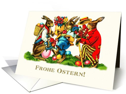 Frohe Ostern. Vintage Easter Bunnies Personalized Greeting Cards in German. at greetingcarduniverse.com
