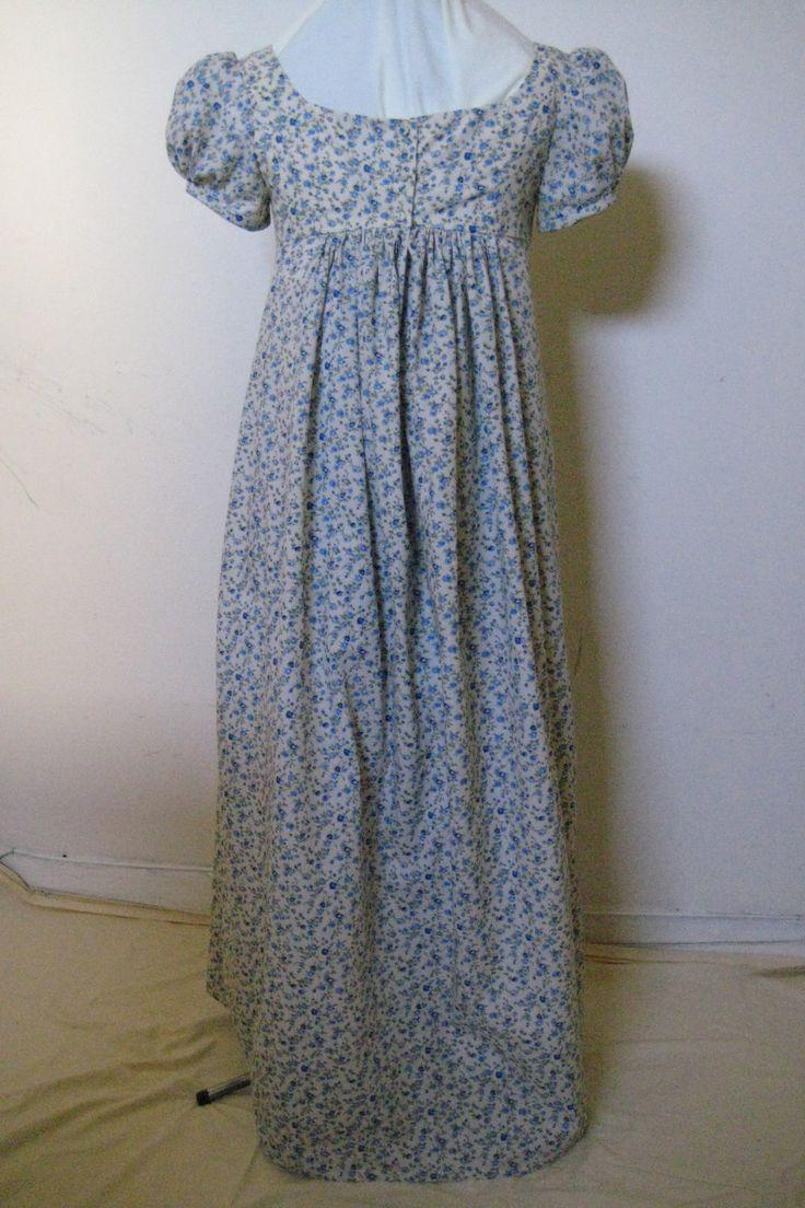 Regency fashion plate the secret dreamworld of a jane austen fan - Regency Dress Jane Austen Cream Cotton Blue Floral Print