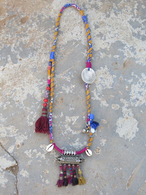 Ethnic necklace with vintage Yemeni amulet and Uzbek by EthnicTree