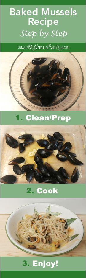 Baked Mussels Recipe Step by Step - MyNaturalFamily.com #mussels #recipe