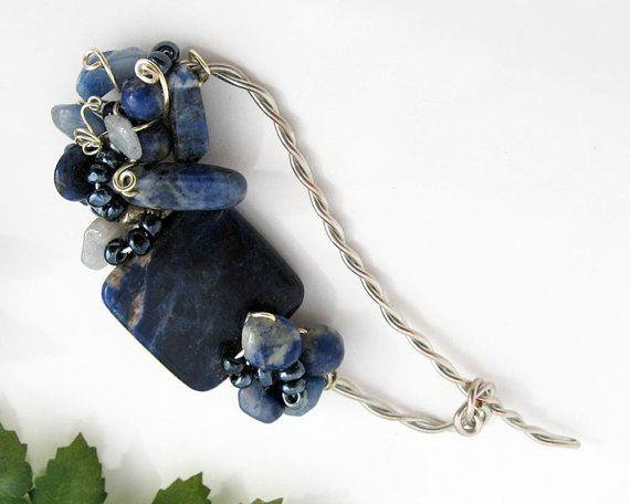 Shawl Pin Sodalite Blue Aventurine Semi By TrishDesignsJewelry, $49.00