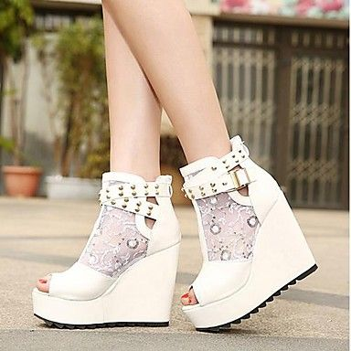 Sandálias/Botas ( Branco ) - MULHERES - Sapatinho / Ankle Boots - Saltos Altos/Peep Toe - Salto Plataforma - Sintético