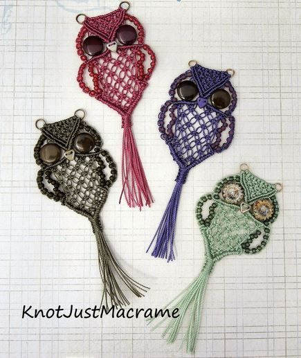 DIY Cute Macrame Owls #diy #crafts