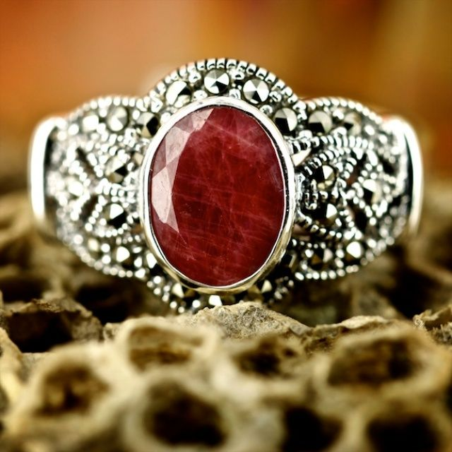 Ruby and marcasite #ring