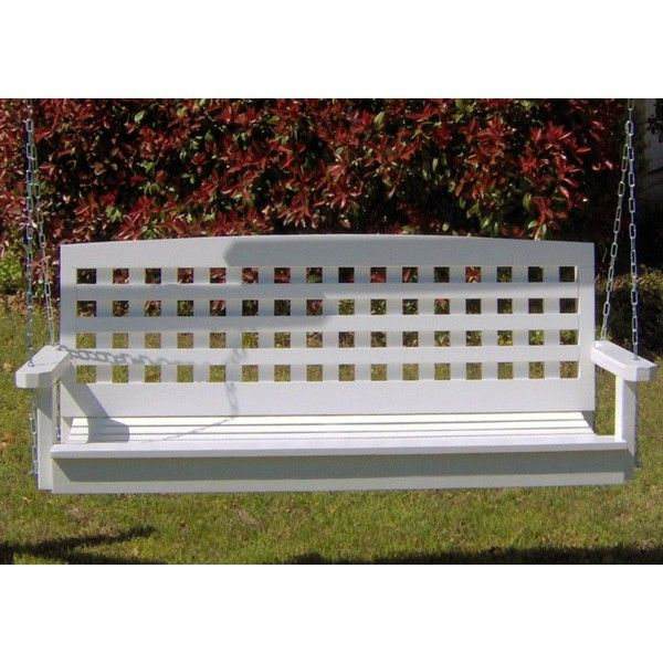TMP Outdoor Furniture Lattice White Porch Swing