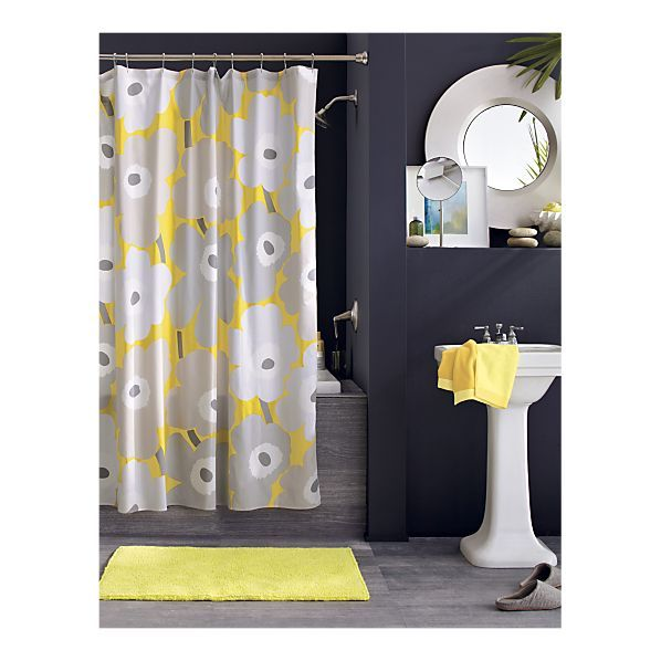 Marimekko Unikko Yellow Shower Curtain in Shower Curtains, Rings | Crate and Barrel- use in downstirs bath paint walls navy with ralp paint we have tons of