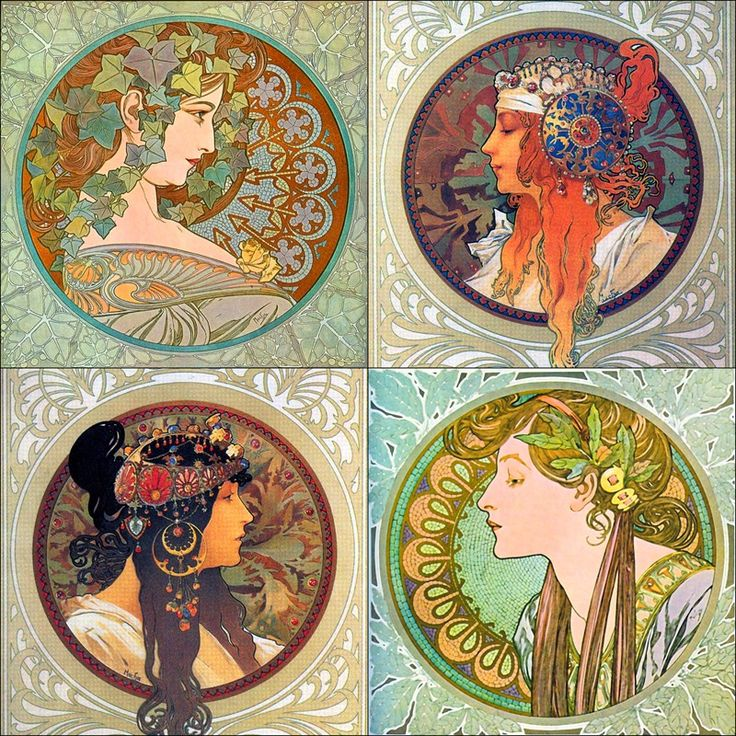 Mucha. I hadn't seen these before another pinner put them up. Love it!! Classic art nouveau!
