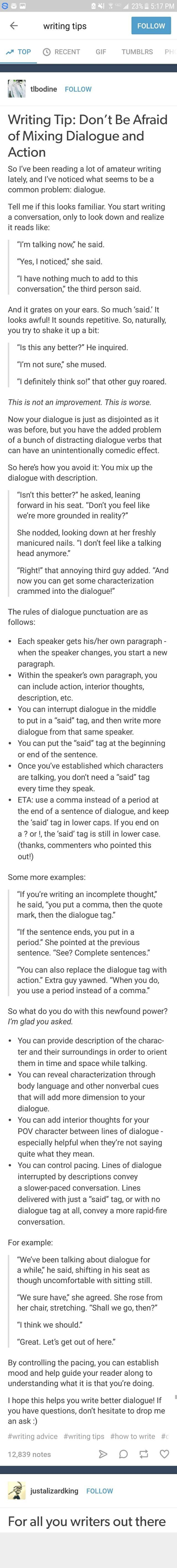 Writing tips - dialog