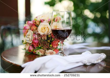 Still life with wine and bouquet