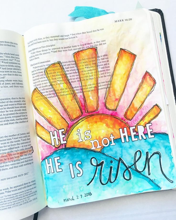 He is risen! He is risen indeed! Mark 16:6 Have been so inspired by @bekahblankenship sunrises had to try my own! #illustratedfaith #easter #heisrisen