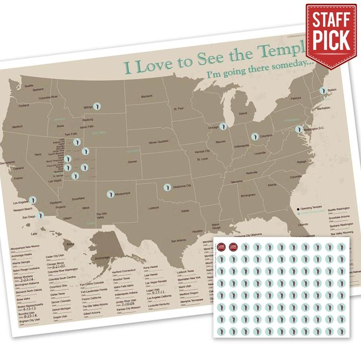 This exclusive LDSBookstore.com United States Temple Map is a specially designed map to keep track of temple visits. Angel Moroni stickers are included to mark off each temple as visits are made. There is also a spot to write down the date of visit....
