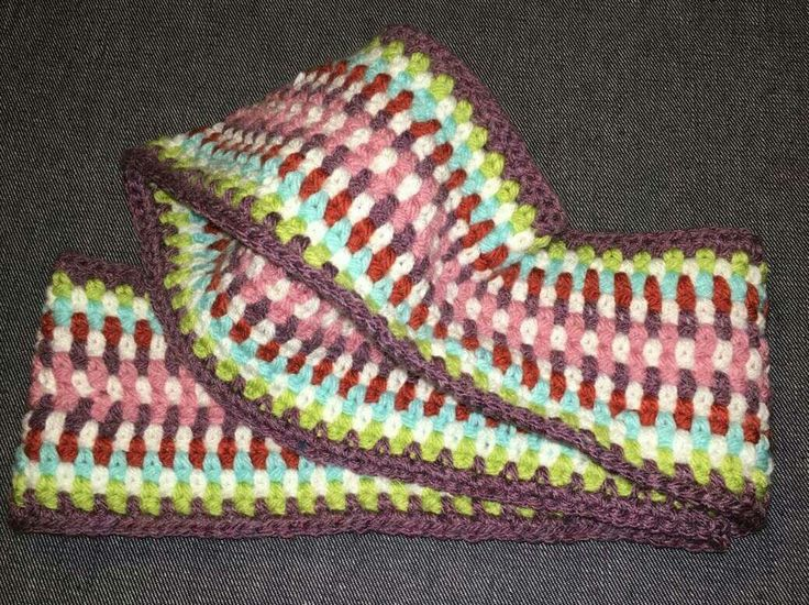 Crochet eternity scarf in multi colours by @mysquarehat