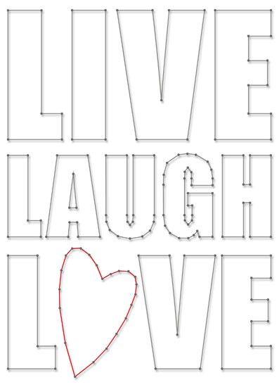 Live Laugh Love | Spijkerschriften | spijkerpatroon