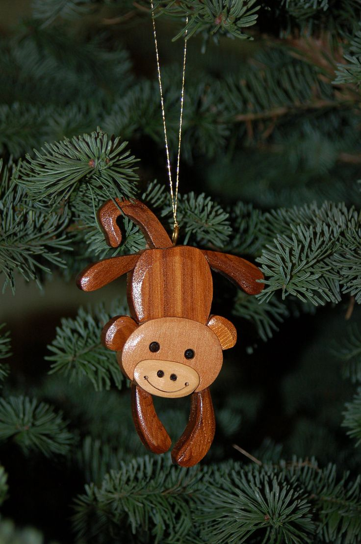 Three wise monkeys wooden ornaments - Monkey Christmas Ornament Wood Carving A Cute And Original Ornament For Your Special Someone And A Nice Addition For Your Holiday