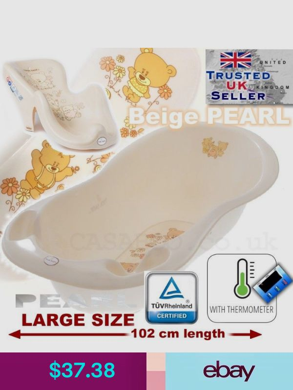 STAND beige PEARL Large Baby Bath Baby Tub 102 cm with thermometer