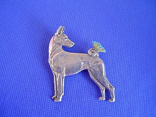 Basenji with Butterfly Pin Pewter #40B Hound dog jewelry by Cindy A. Conter  #pewterpin