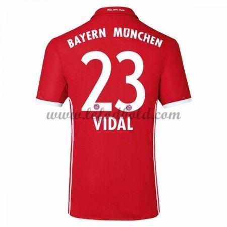 Billige Fodboldtrøjer Bayern Munich 2016-17 Vidal 23 Kortærmet Hjemmebanetrøje