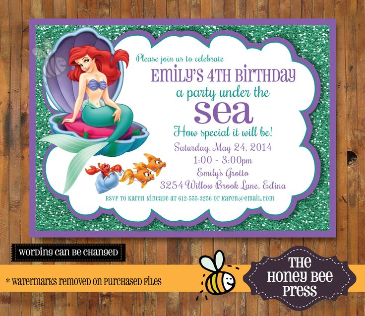 Best Invitations ArielLittle Mermaid Images On Pinterest - Custom ariel birthday invitations