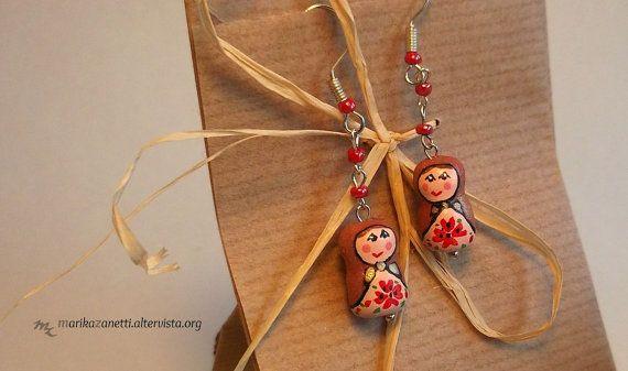 matrioska  orecchini fatti a mano  idea di LaBottegadimarika