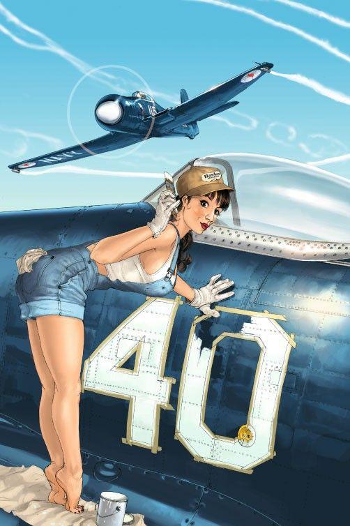 Romain Hugault - Pin-Up wings T3 - Rosie & Hawker Seafury