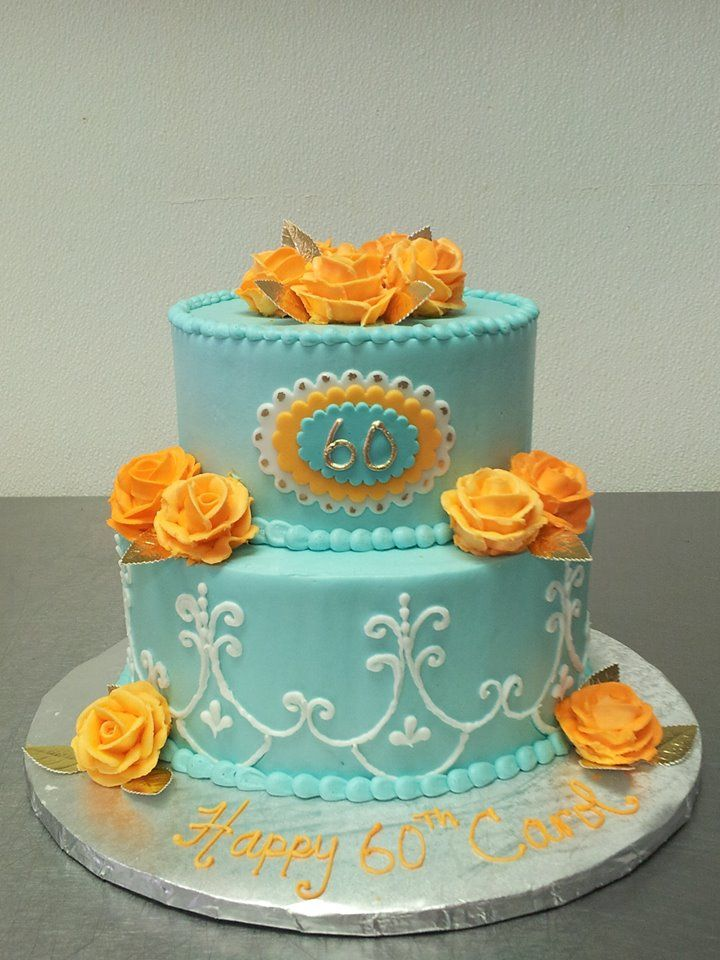 Custom Two Tier Elegant Birthday Cake 60 Years Old
