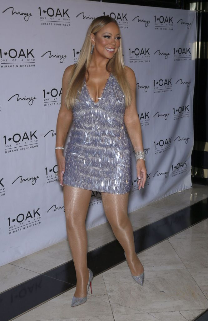Mariah Carey Donned A Plunging Silver Mini Dress At 1 Oak