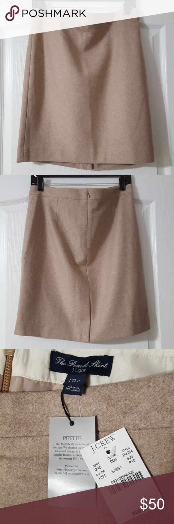 """J.Crew Petite Pencil Skirt in Double-Serge Wool Wool/Viscose  Sits at waist  Approx. 19.5"""" long  Back zip closure  Back vent Lined  Brand New with tag! J. Crew Skirts Pencil"""