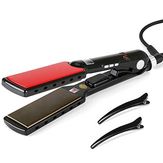 Titanium Hair Straightener , Pulla Professional LED Digital MCH Plates Flat Iron , Fast Heating 180F to 470F Achieve Salon Anti Frizz, 1.5 Inch, Dual voltage For Worldwide and Auto Shut Off  - http://amzn.to/2tBGwct