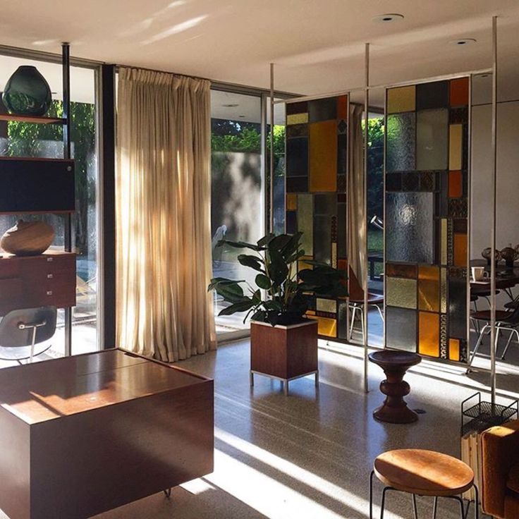 Check out the stained glass panels. Awesome #midcenturyModern #interiorDesign