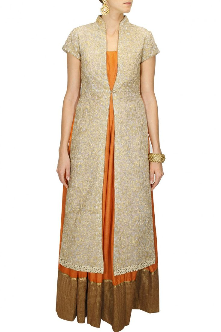 INTRODUCING : Beige dori embroidered jacket with orange anarkali by Anoli Shah. Shop at www.perniaspopups... #new #designer #anolishah #indian #traditional #shopnow #perniaspopupshop #happyshopping