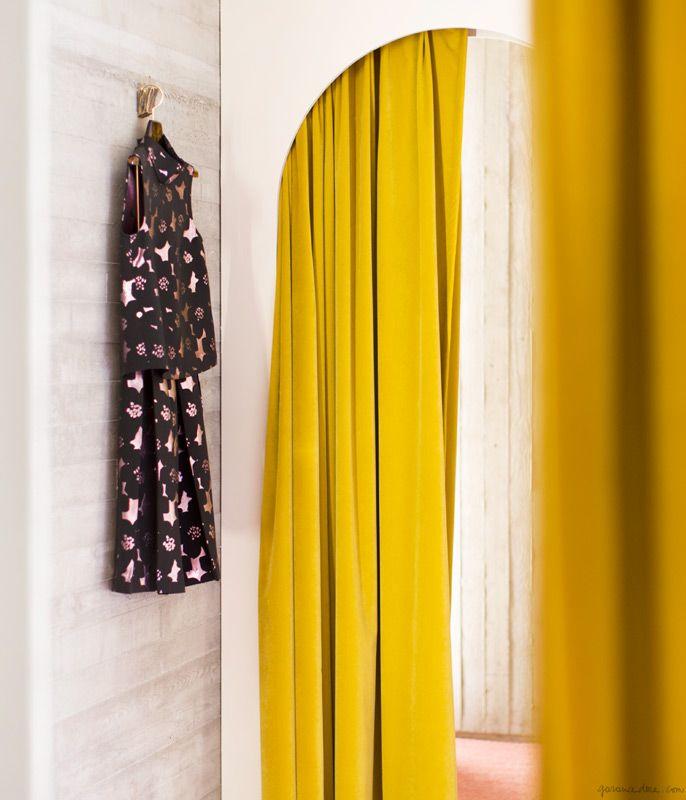 Rachel Comey summer dress, prints, yellow curtains, fitting room, mirror / Garance Doré