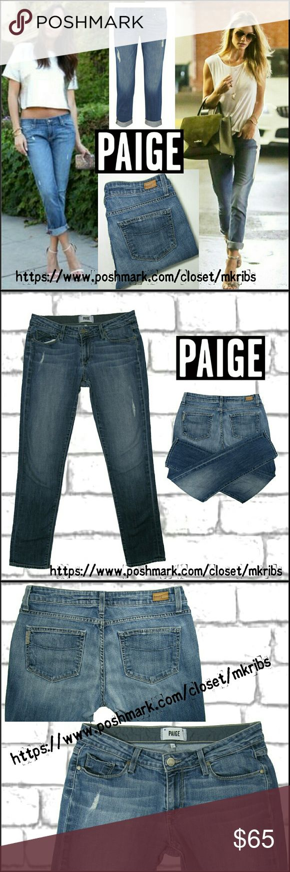 Paige Jimmy Jimmy skinny jean 27 Paige Denim, Jimmy Jimmy skinny crops. Destroyed, distressed, wash.  Soft denim with stretch. Size 27. All photos in pictures 2, 3, and 4 are of the actual item for sale and taken by me. NO TRADES PLEASE! OFFERS WELCOME THROUGH OFFER FEATURE ONLY PLEASE! Paige Jeans Jeans