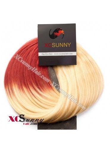 $75.00--Wholesale-15 Inch -24 Inch #613/Red Dip Dye Hair 9pcs Full Head Set Clip In Human Hair Extension [DDH002]