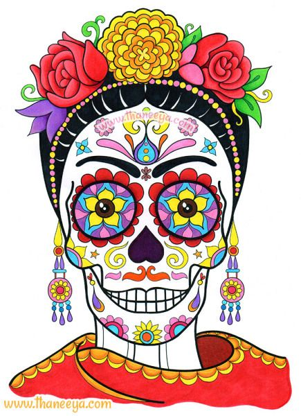"Frida Sugar Skull by Thaneeya McArdle, from Thaneeya's ""Day of the Dead Coloring Book"" http://www.amazon.com/gp/product/1574219618/ref=as_li_tl?ie=UTF8&camp=1789&creative=390957&creativeASIN=1574219618&linkCode=as2&tag=arisfu-20&linkId=6OG7Z67CA6OR7CRJ"