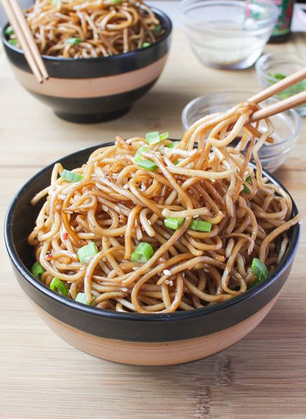 Sesame Noodles with Honey Ginger Sauce. Pinned it/tried it: Tasty, but super spicy, and I didn't even use all the pepper flakes. I will definitely make it again, but tone it down a bit.
