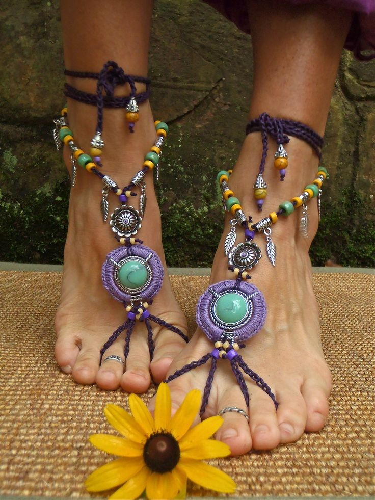 PURPLE dream BAREFOOT SANDALS Barefoot Wedding tribal belly dance jewelry slave anklet hula hooping foot jewelry bohemian shoes unique. $89.00, via Etsy.