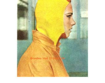 Vintage Knitting Pattern - Ski Mask - Balaclava Dickey Helmet - Mens Womens Ski Hat - Mens Cap - PDF Instant Download - Digital Pattern