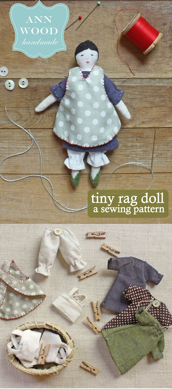 tiny rag doll : a sewing pattern by annwood on Etsy