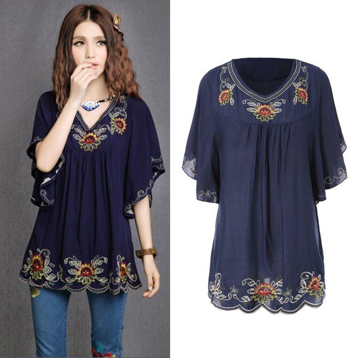 Venta caliente Vintage 70 s estilo étnico camisa Floral bordado Hippie blusa para mujer vestido de manga murciélago Tops envío…