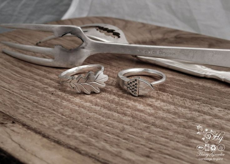 Oak leaf and acorn silver rings, made from recycled cutlery