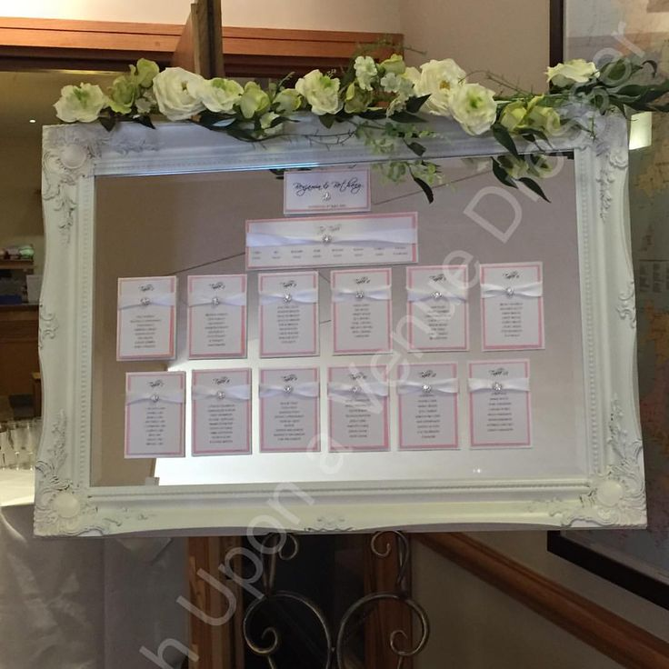 Vintage French white mirror frame table plan available to hire for £60 price includes vintage mirror, table plan design for up to 12 tables, flower garland and table top easel. Colours and designs can be changed to suit your scheme #Leeds #venuedressing #mirror #tableplan #wedding #hire #wuavd #mirrortableplan #vintage #weddingstationery #weddingreception #weddings #weddingdecor #weddingtableplan #handmade #seatingplan