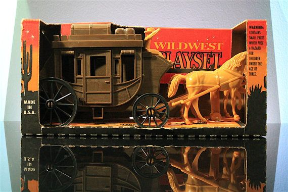 Tim Mee Toy / Processed Plastics Stagecoach Wild West #TimMeeToy #ProcessedPlastic #stagecoach #vintage #toy #toys #cowboys #toysoldiers #playsets #RetroramaStudios