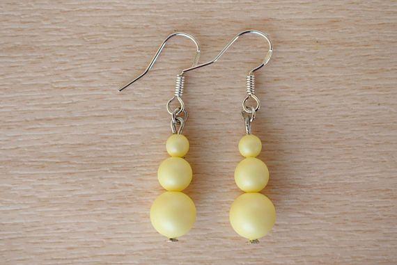 Yellow Pearl Earrings  Pastel Earrings  Swarovski Pearl Drop